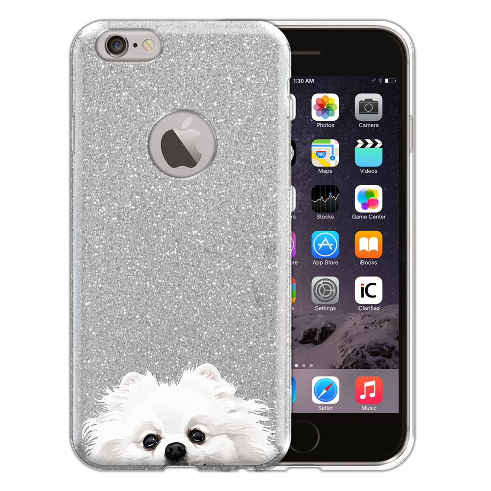 Hybrid Silver Glitter Clear Fusion White Teacup Pomeranian Protector Cover Case for Apple iPhone 6 4.7 inch, iPhone 6s 4.7 inch 2nd Gen 2015
