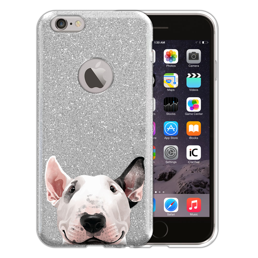 Hybrid Silver Glitter Clear Fusion Bull Terrier Protector Cover Case for Apple iPhone 6 4.7 inch, iPhone 6s 4.7 inch 2nd Gen 2015