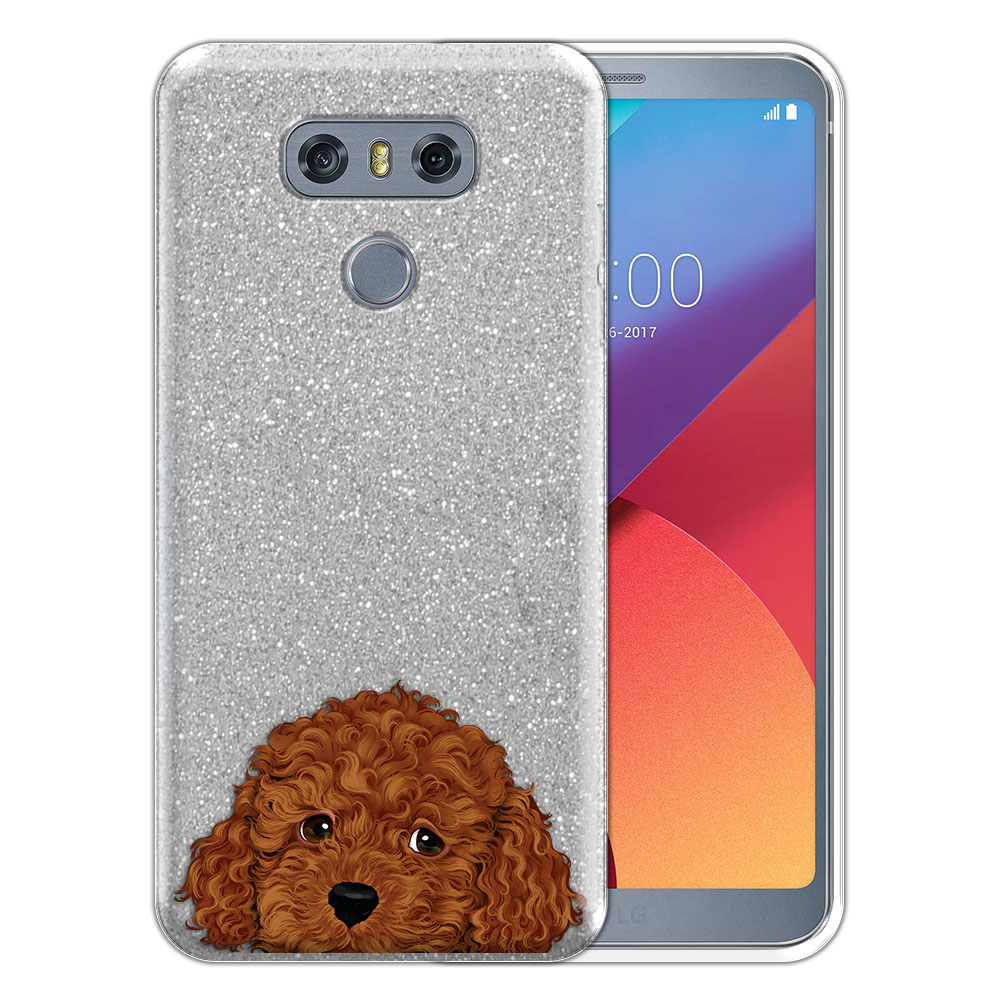 Hybrid Silver Glitter Clear Fusion Brown Toy Poodle Protector Cover Case for LG G6 H870 H871 H872 US997 LS993 VS998 AS993