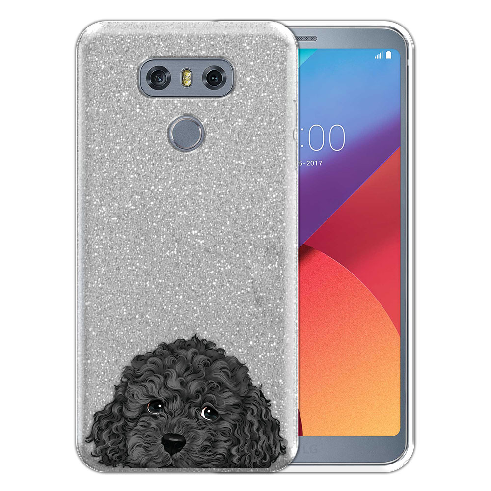 Hybrid Silver Glitter Clear Fusion Gray Toy Poodle Protector Cover Case for LG G6 H870 H871 H872 US997 LS993 VS998 AS993