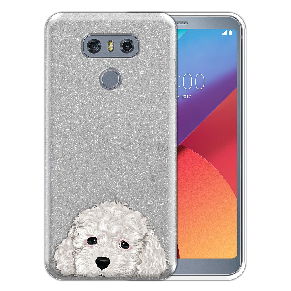 Hybrid Silver Glitter Clear Fusion White Toy Poodle Protector Cover Case for LG G6 H870 H871 H872 US997 LS993 VS998 AS993