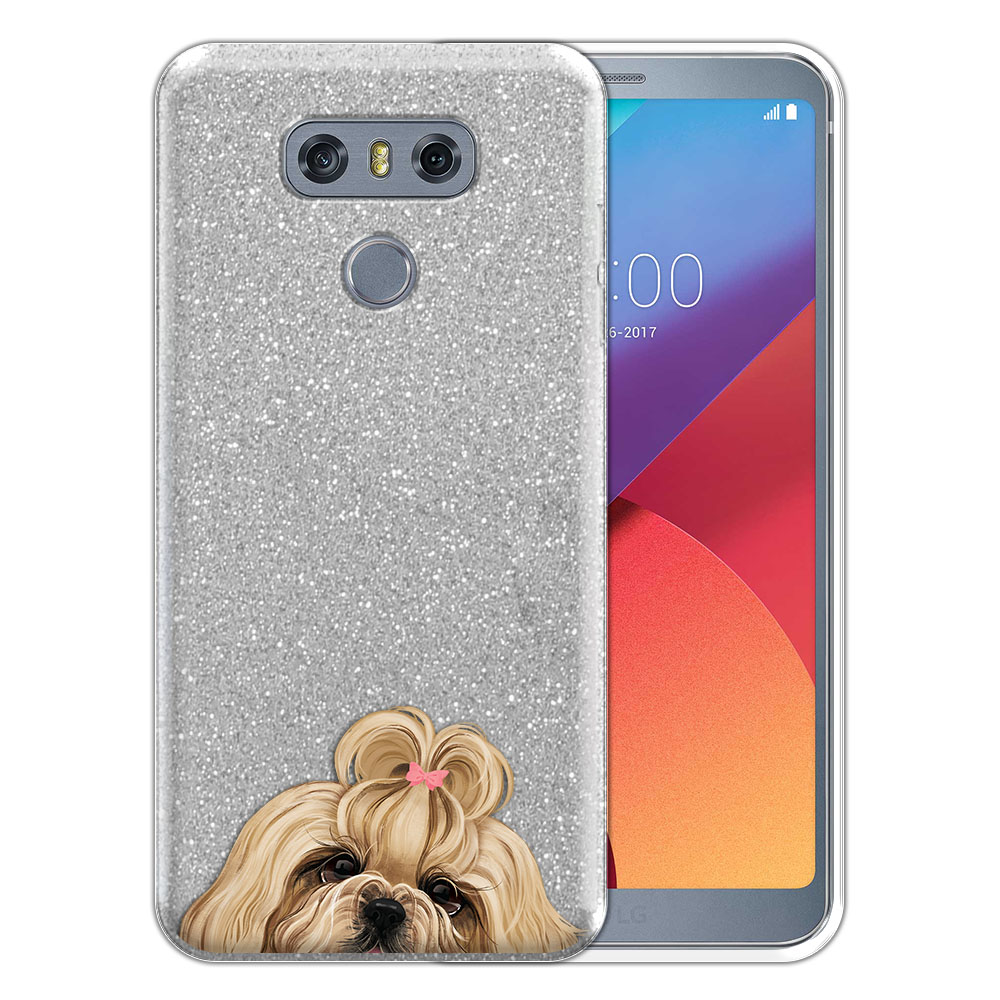 Hybrid Silver Glitter Clear Fusion Gold White Shih Tzu Protector Cover Case for LG G6 H870 H871 H872 US997 LS993 VS998 AS993