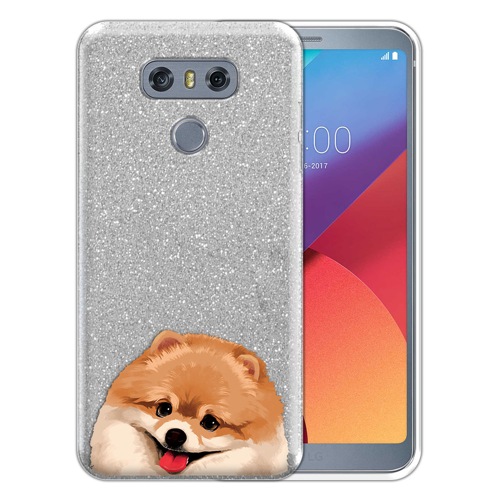 Hybrid Silver Glitter Clear Fusion Fawn Pomeranian Protector Cover Case for LG G6 H870 H871 H872 US997 LS993 VS998 AS993
