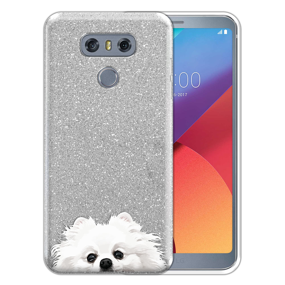 Hybrid Silver Glitter Clear Fusion White Teacup Pomeranian Protector Cover Case for LG G6 H870 H871 H872 US997 LS993 VS998 AS993