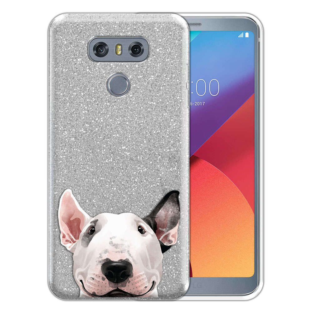 Hybrid Silver Glitter Clear Fusion Bull Terrier Protector Cover Case for LG G6 H870 H871 H872 US997 LS993 VS998 AS993