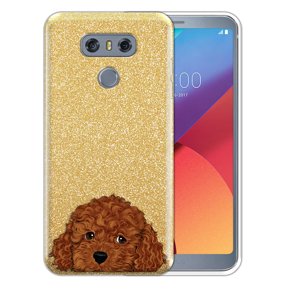 Hybrid Gold Glitter Clear Fusion Brown Toy Poodle Protector Cover Case for LG G6 H870 H871 H872 US997 LS993 VS998 AS993