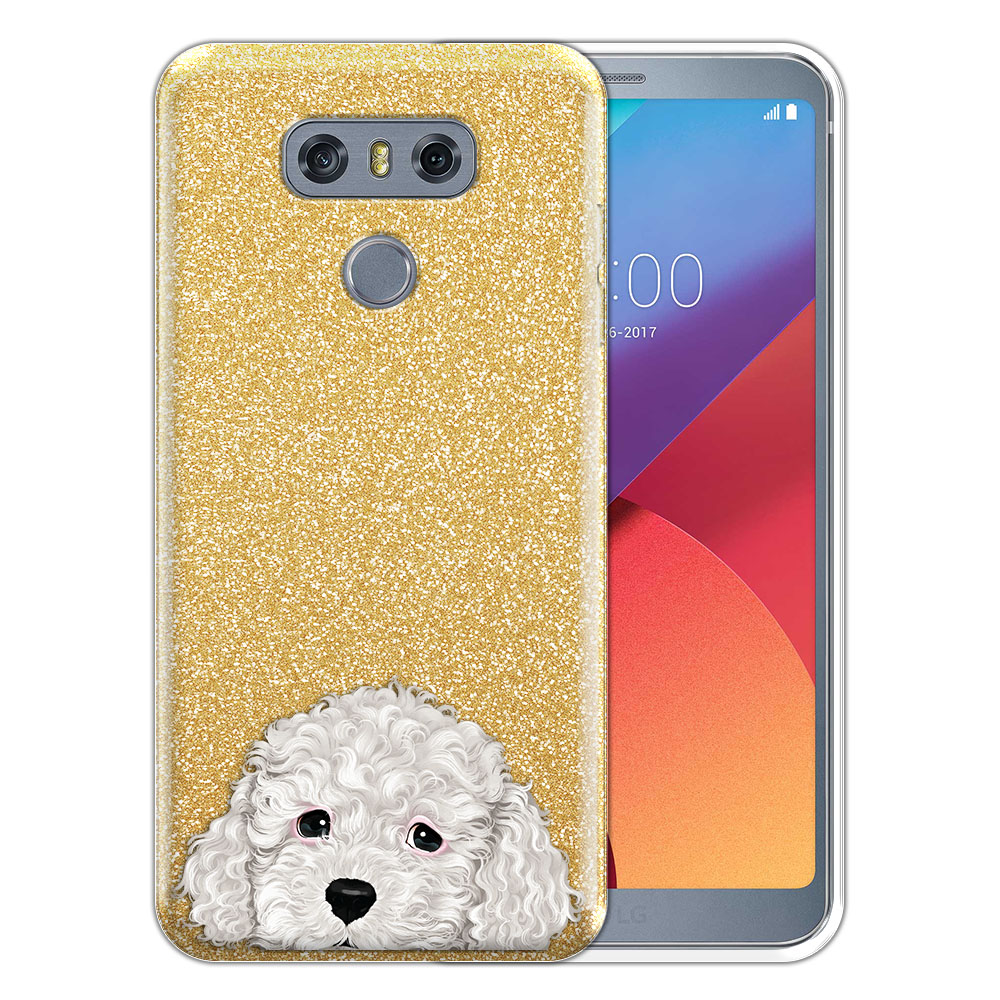 Hybrid Gold Glitter Clear Fusion White Toy Poodle Protector Cover Case for LG G6 H870 H871 H872 US997 LS993 VS998 AS993