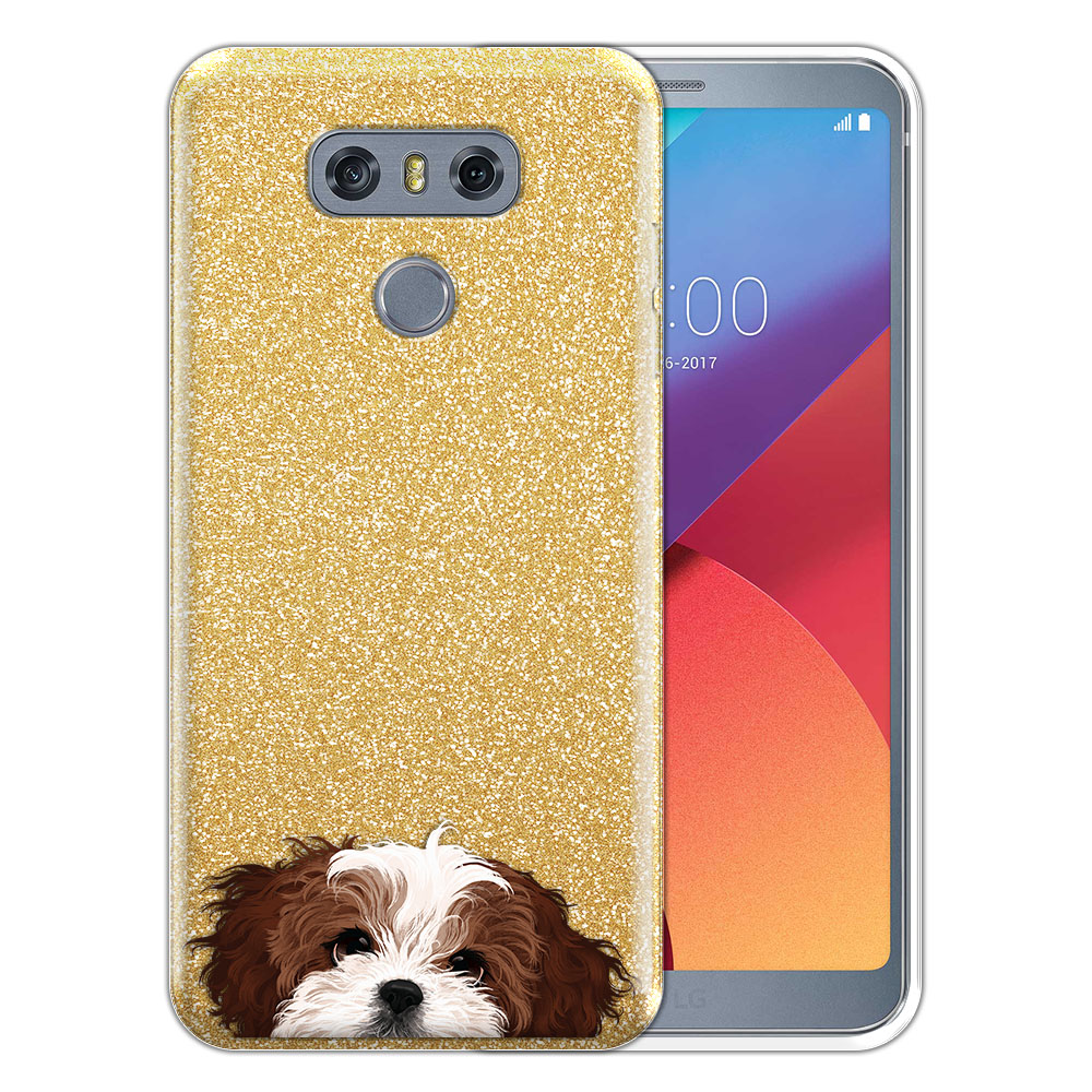 Hybrid Gold Glitter Clear Fusion Brown White Shih Tzu Protector Cover Case for LG G6 H870 H871 H872 US997 LS993 VS998 AS993