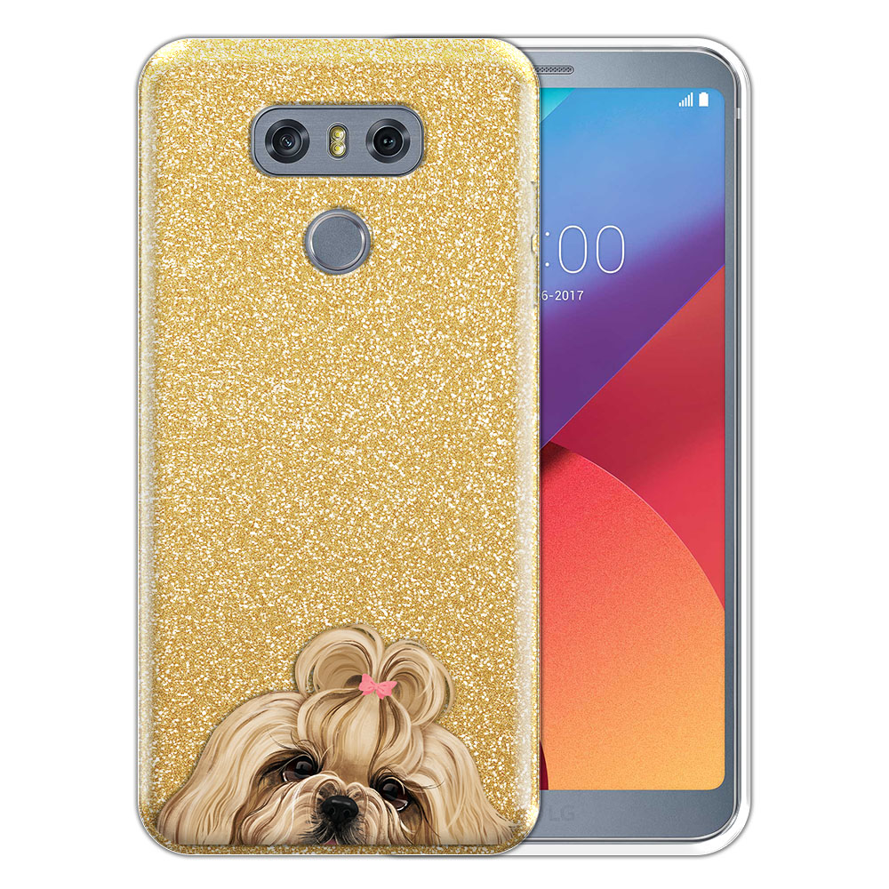 Hybrid Gold Glitter Clear Fusion Gold White Shih Tzu Protector Cover Case for LG G6 H870 H871 H872 US997 LS993 VS998 AS993