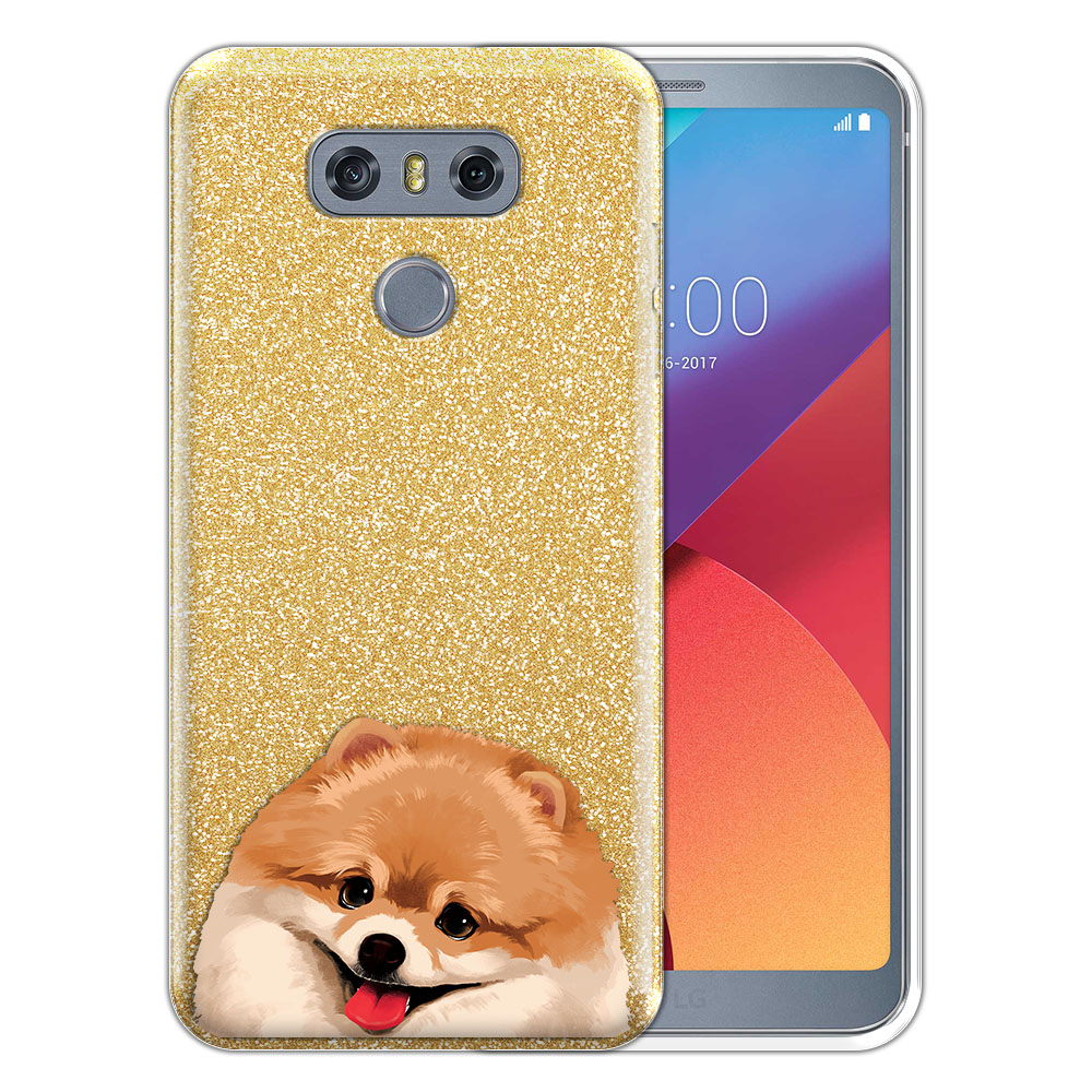Hybrid Gold Glitter Clear Fusion Fawn Pomeranian Protector Cover Case for LG G6 H870 H871 H872 US997 LS993 VS998 AS993
