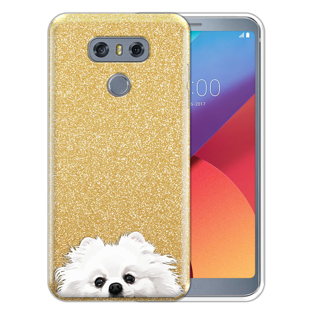 Hybrid Gold Glitter Clear Fusion White Teacup Pomeranian Protector Cover Case for LG G6 H870 H871 H872 US997 LS993 VS998 AS993