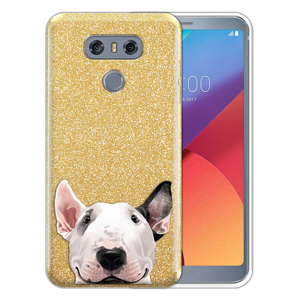 Hybrid Gold Glitter Clear Fusion Bull Terrier Protector Cover Case for LG G6 H870 H871 H872 US997 LS993 VS998 AS993
