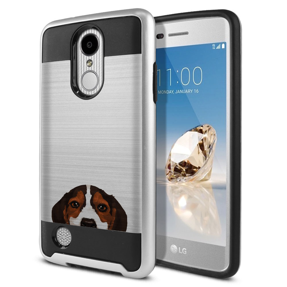 Hybrid Fusion Brushed Beagle Puppy Dog Protector Cover Case for LG Aristo MS210 LV3 K8 (2017) Phoenix 3 M150 Fortune