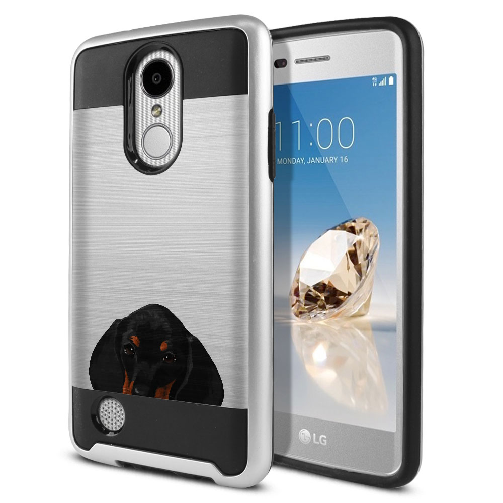 Hybrid Fusion Brushed Dachshund Puppy Dog Protector Cover Case for LG Aristo MS210 LV3 K8 (2017) Phoenix 3 M150 Fortune