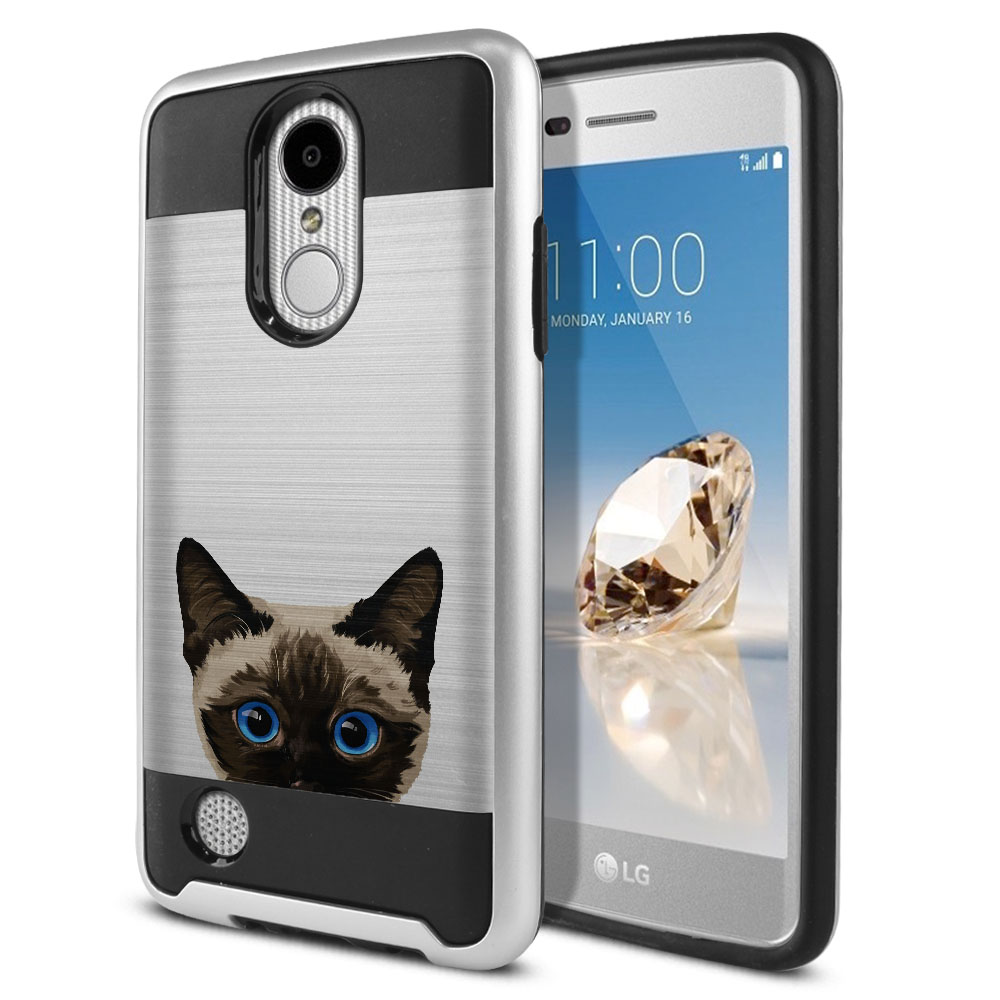 Hybrid Fusion Brushed Siamese Kitten Cat Protector Cover Case for LG Aristo MS210 LV3 K8 (2017) Phoenix 3 M150 Fortune