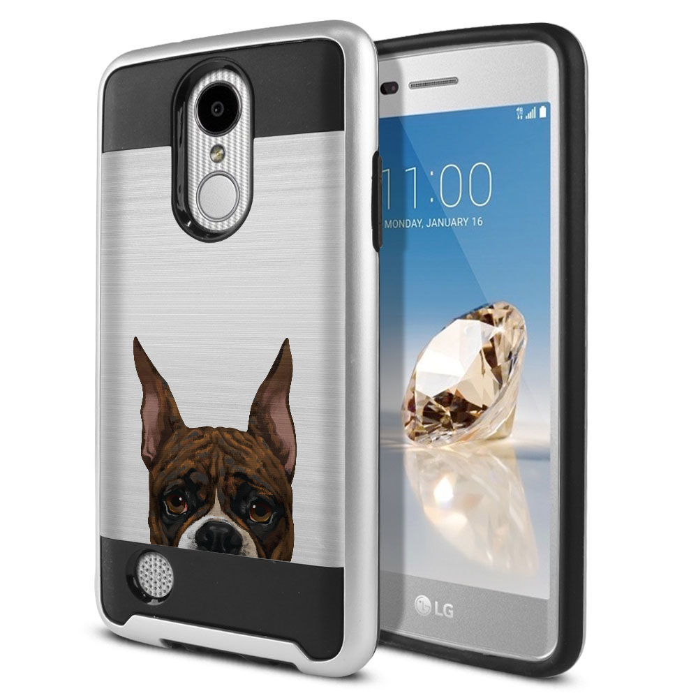 Hybrid Fusion Brush Brindle Pattern Boxer Dog Protector Cover Case for LG Aristo MS210 LV3 K8 (2017) Phoenix 3 M150 Fortune