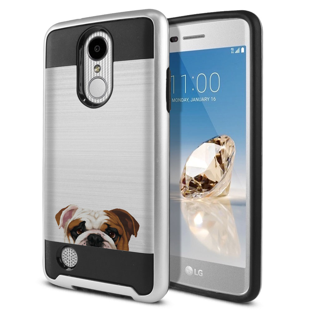 Hybrid Fusion Brush English Bulldog Protector Cover Case for LG Aristo MS210 LV3 K8 (2017) Phoenix 3 M150 Fortune