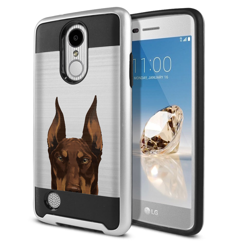 Hybrid Fusion Brush Red Chocolate Doberman Pinscher Dog Protector Cover Case for LG Aristo MS210 LV3 K8 (2017) Phoenix 3 M150 Fortune