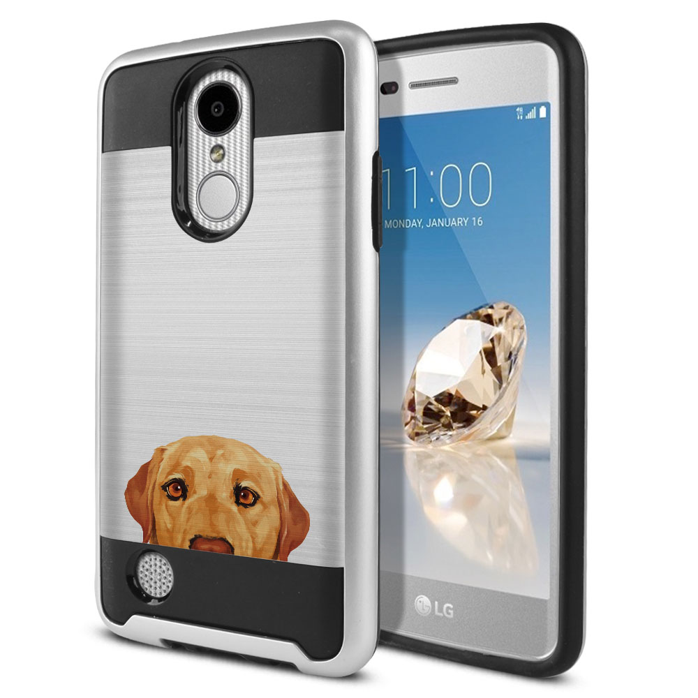 Hybrid Fusion Brush Yellow Labrador Retriever Dog Protector Cover Case for LG Aristo MS210 LV3 K8 (2017) Phoenix 3 M150 Fortune