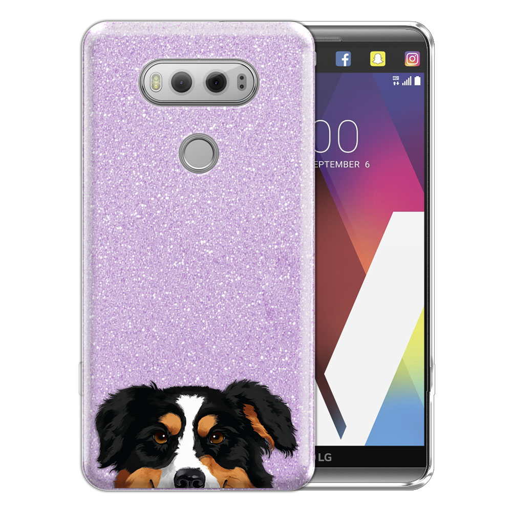 Hybrid Purple Glitter Clear Fusion Black Tricolor Aussie Australian Shepherd Dog Protector Cover Case for LG V20 VS995 H990 LS997 H910 H918 US996
