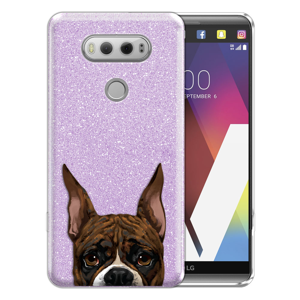 Hybrid Purple Glitter Clear Fusion Brindle Pattern Boxer Dog Protector Cover Case for LG V20 VS995 H990 LS997 H910 H918 US996