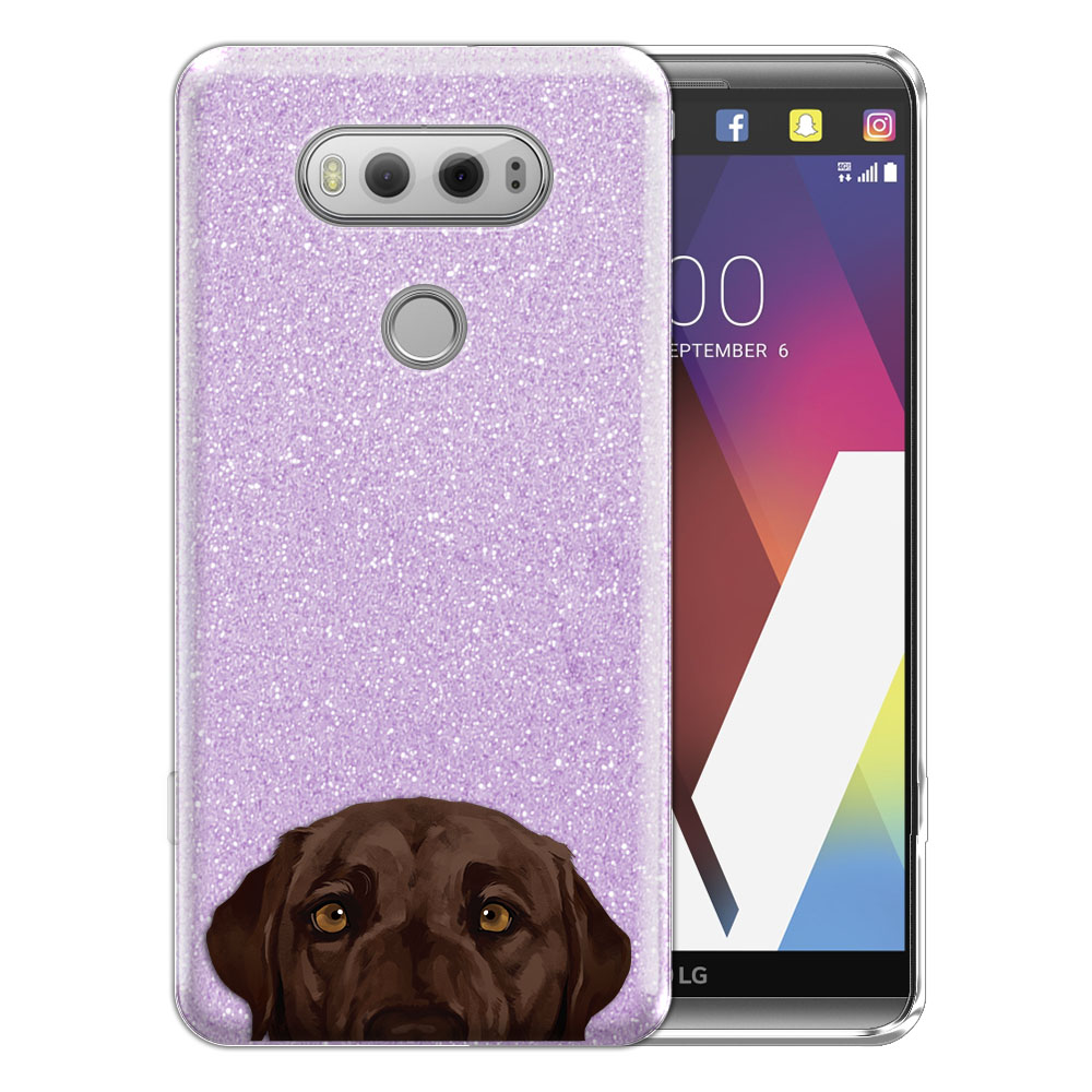 Hybrid Purple Glitter Clear Fusion Chocolate Brown Labrador Retriever Dog Protector Cover Case for LG V20 VS995 H990 LS997 H910 H918 US996