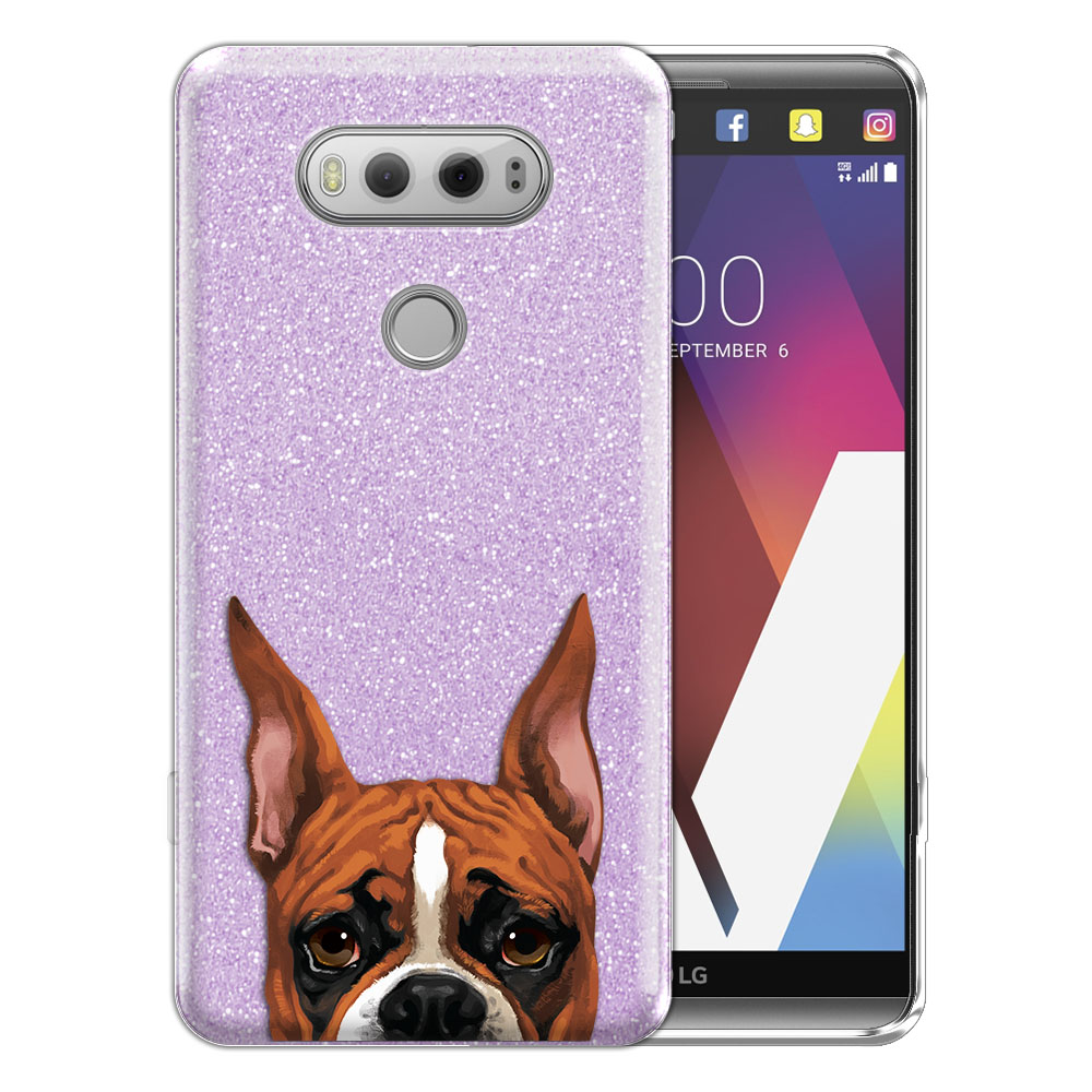 Hybrid Purple Glitter Clear Fusion Fawn Color Boxer Dog Protector Cover Case for LG V20 VS995 H990 LS997 H910 H918 US996