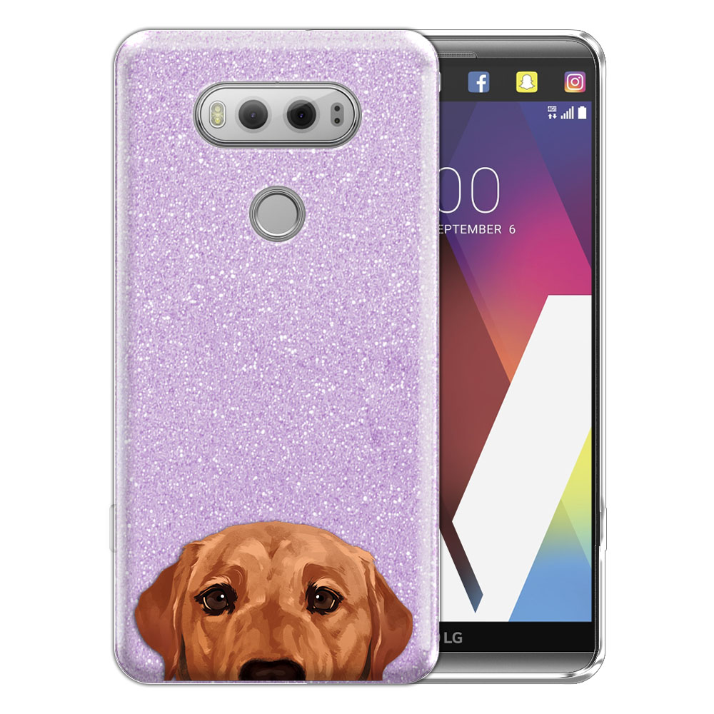 Hybrid Purple Glitter Clear Fusion Fox Red Labrador Retriever Dog Protector Cover Case for LG V20 VS995 H990 LS997 H910 H918 US996