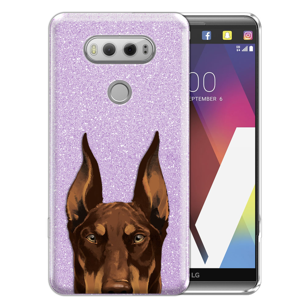 Hybrid Purple Glitter Clear Fusion Red Chocolate Doberman Pinscher Dog Protector Cover Case for LG V20 VS995 H990 LS997 H910 H918 US996