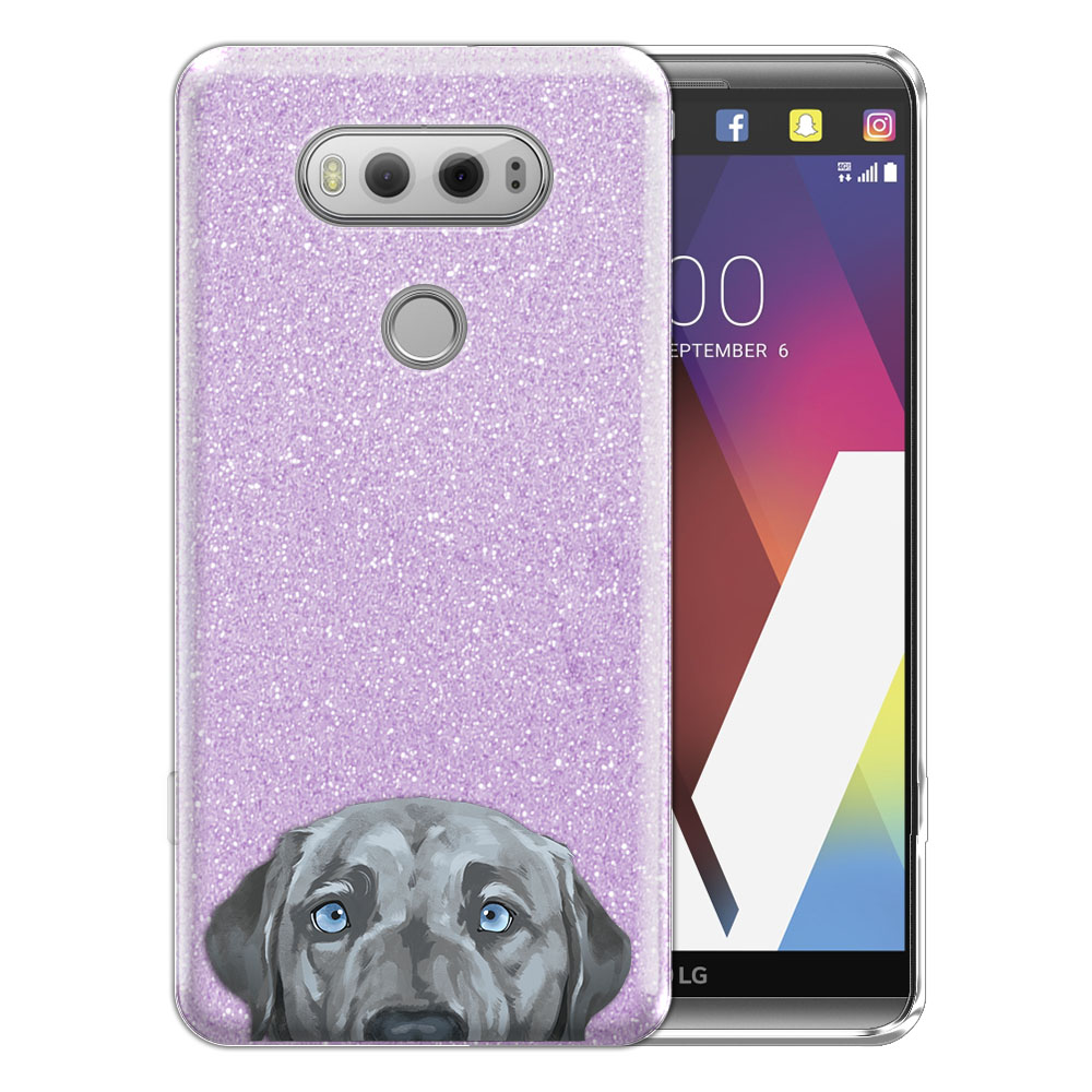 Hybrid Purple Glitter Clear Fusion Silver Blue Labrador Retriever Dog Protector Cover Case for LG V20 VS995 H990 LS997 H910 H918 US996