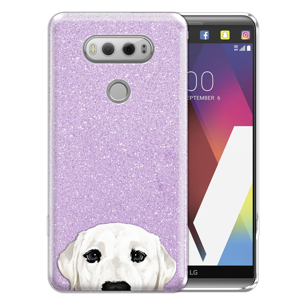 Hybrid Purple Glitter Clear Fusion White Labrador Retriever Dog Protector Cover Case for LG V20 VS995 H990 LS997 H910 H918 US996