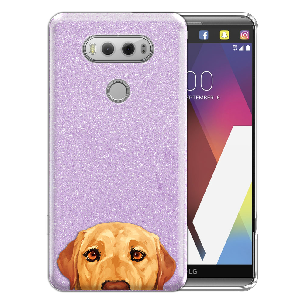 Hybrid Purple Glitter Clear Fusion Yellow Labrador Retriever Dog Protector Cover Case for LG V20 VS995 H990 LS997 H910 H918 US996