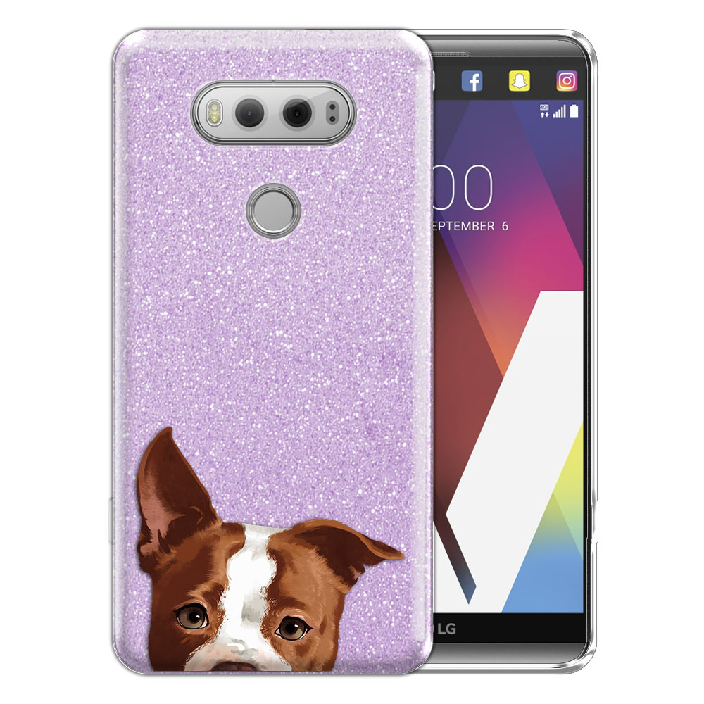 Hybrid Purple Glitter Clear Fusion Clear Brown American Pit Bull Puppy Dog Protector Cover Case for LG V20 VS995 H990 LS997 H910 H918 US996