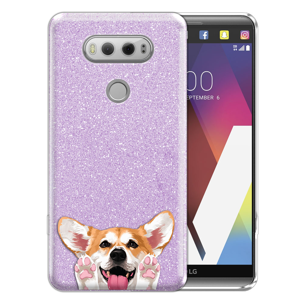 Hybrid Purple Glitter Clear Fusion Clear Red Pembroke Welsh Corgi Protector Cover Case for LG V20 VS995 H990 LS997 H910 H918 US996