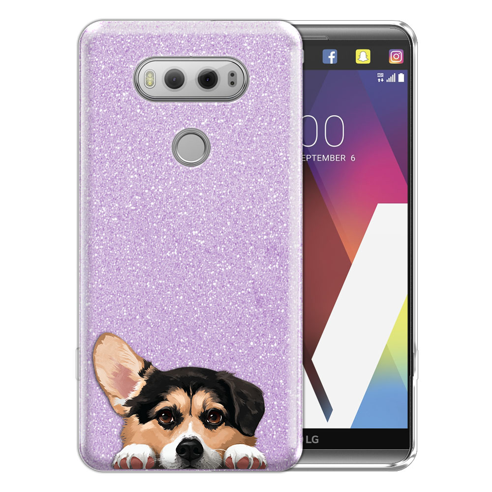 Hybrid Purple Glitter Clear Fusion Clear Tricolor Pembroke Welsh Corgi Protector Cover Case for LG V20 VS995 H990 LS997 H910 H918 US996