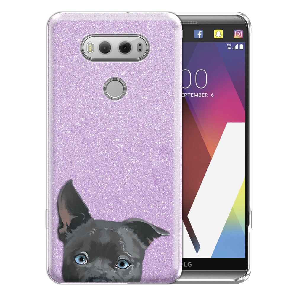 Hybrid Purple Glitter Clear Fusion Clear Silver American Pit Bull Puppy Dog Protector Cover Case for LG V20 VS995 H990 LS997 H910 H918 US996
