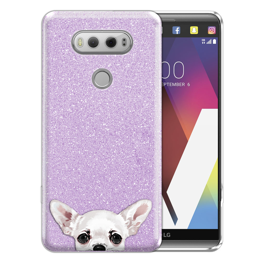 Hybrid Purple Glitter Clear Fusion Clear White Chihuahua Protector Cover Case for LG V20 VS995 H990 LS997 H910 H918 US996
