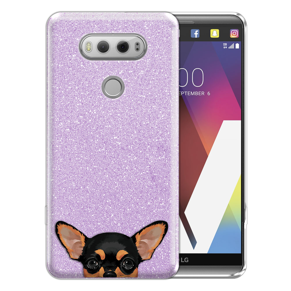 Hybrid Purple Glitter Clear Fusion Clear Black Tan Chihuahua Protector Cover Case for LG V20 VS995 H990 LS997 H910 H918 US996