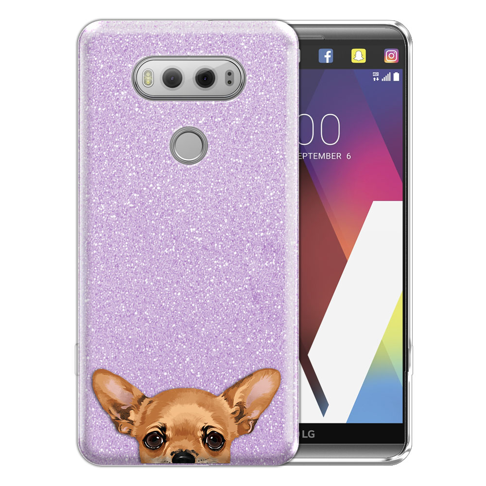 Hybrid Purple Glitter Clear Fusion Clear Fawn Apple Head Chihuahua Protector Cover Case for LG V20 VS995 H990 LS997 H910 H918 US996
