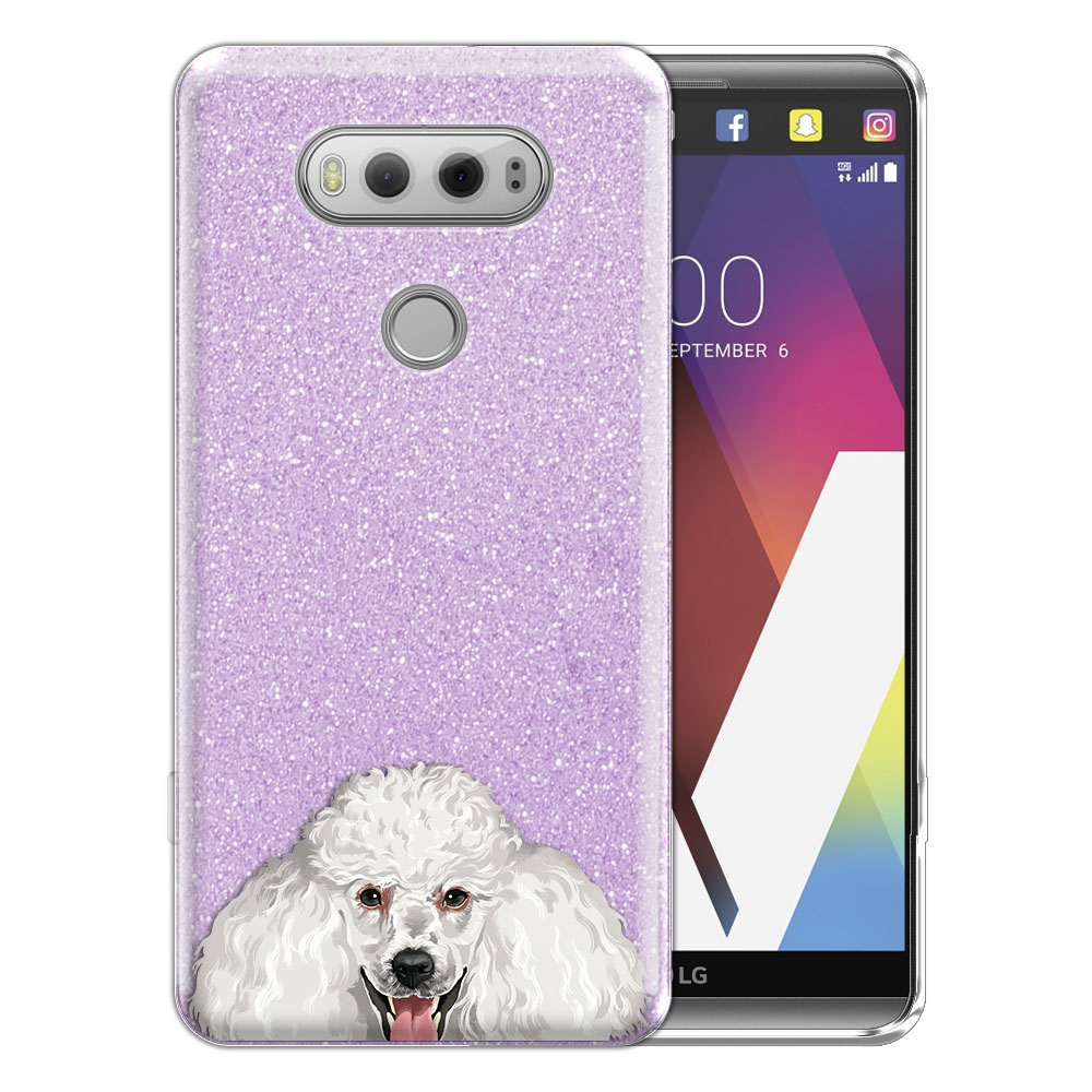 Hybrid Purple Glitter Clear Fusion Clear White Standard Poodle Protector Cover Case for LG V20 VS995 H990 LS997 H910 H918 US996