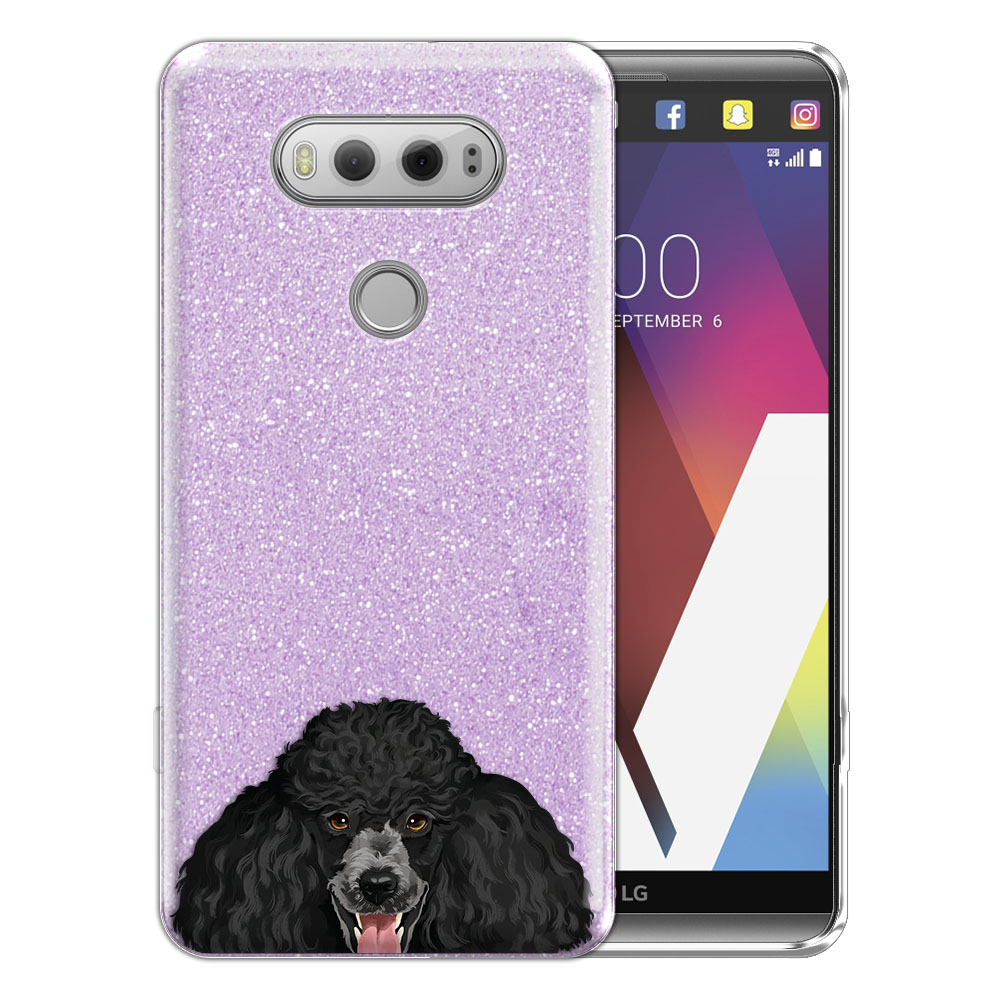 Hybrid Purple Glitter Clear Fusion Clear Black Standard Poodle Protector Cover Case for LG V20 VS995 H990 LS997 H910 H918 US996