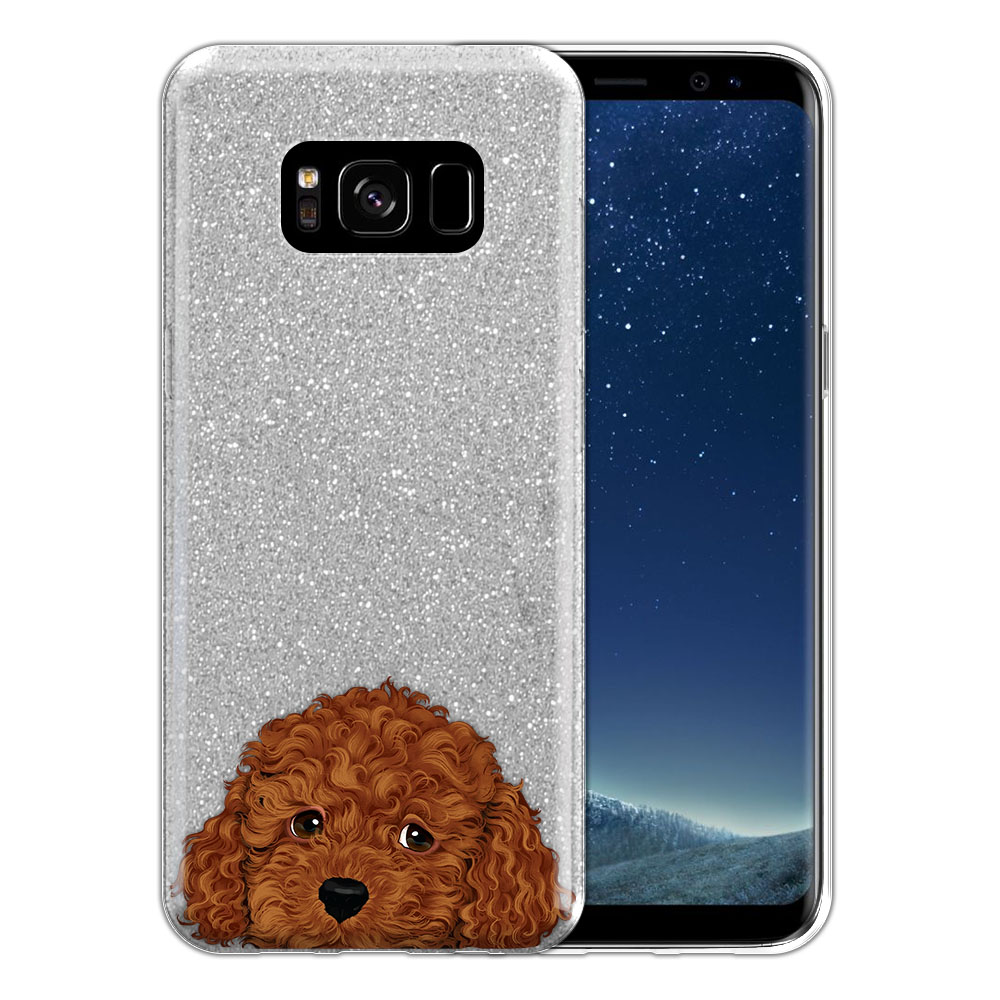 Hybrid Silver Glitter Clear Fusion Brown Toy Poodle Protector Cover Case for Samsung Galaxy S8 G950