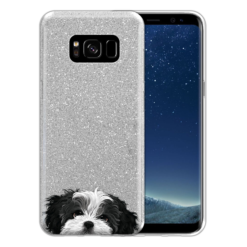 Hybrid Silver Glitter Clear Fusion Black White Shih Tzu Protector Cover Case for Samsung Galaxy S8 G950