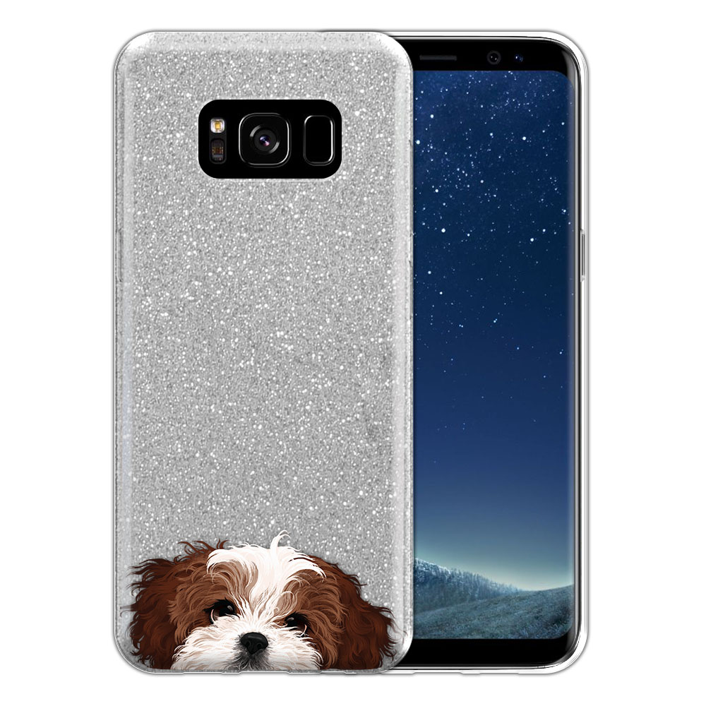 Hybrid Silver Glitter Clear Fusion Brown White Shih Tzu Protector Cover Case for Samsung Galaxy S8 G950