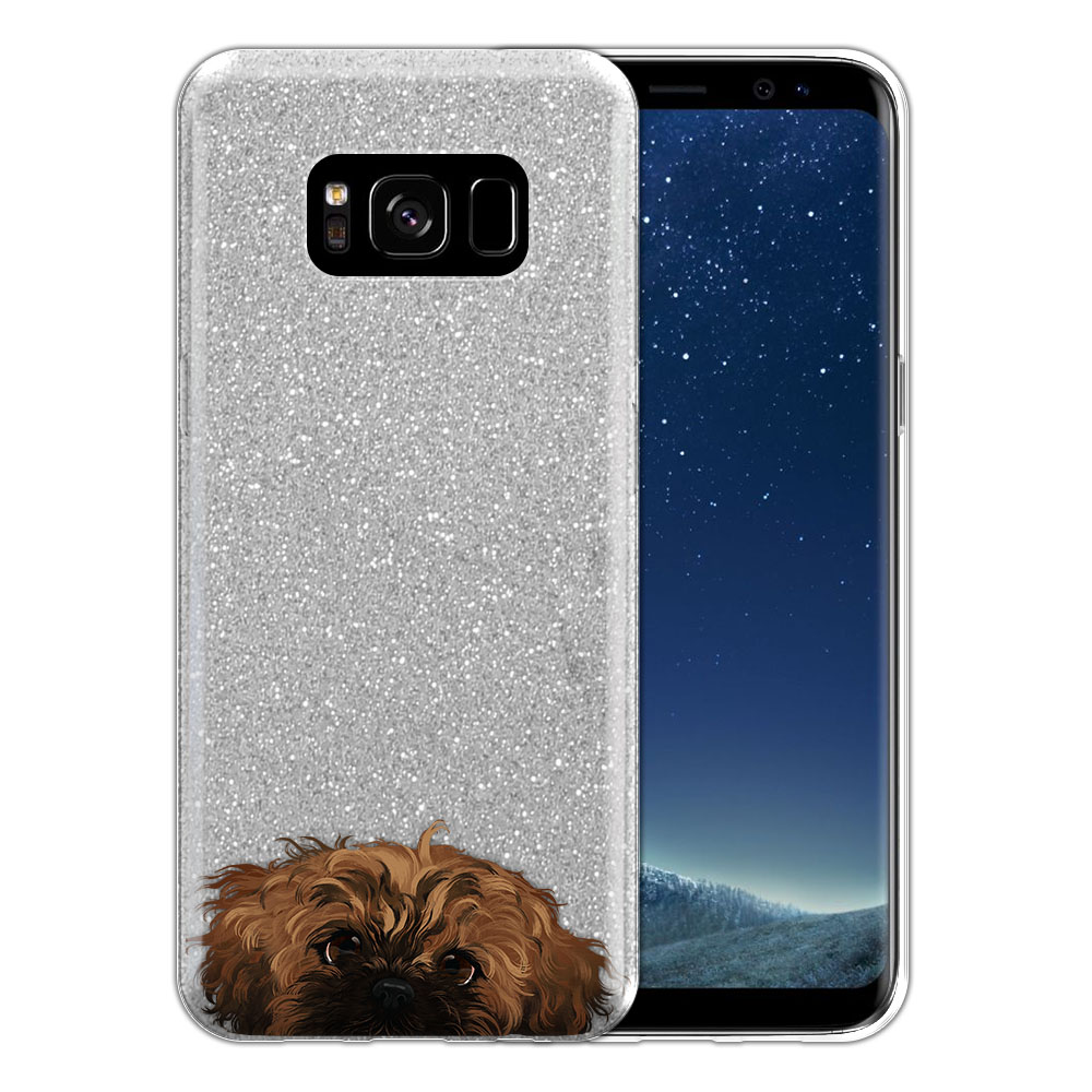 Hybrid Silver Glitter Clear Fusion Fawn Black Mask Shih Tzu Protector Cover Case for Samsung Galaxy S8 G950