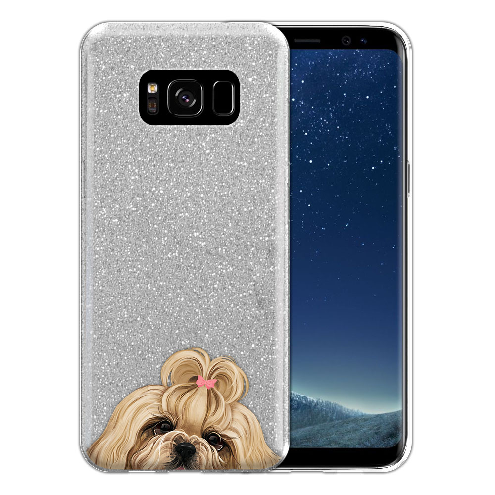 Hybrid Silver Glitter Clear Fusion Gold White Shih Tzu Protector Cover Case for Samsung Galaxy S8 G950
