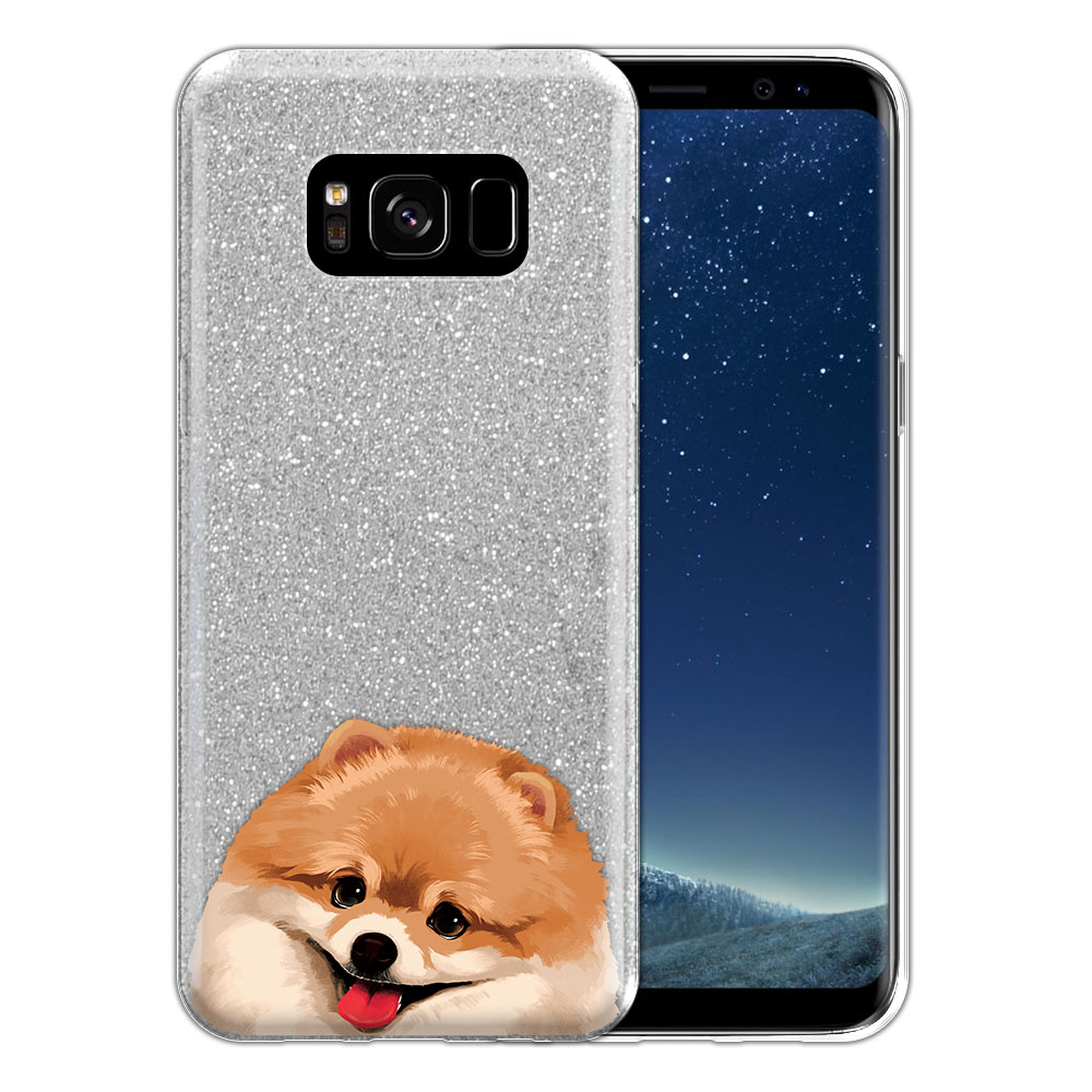Hybrid Silver Glitter Clear Fusion Fawn Pomeranian Protector Cover Case for Samsung Galaxy S8 G950