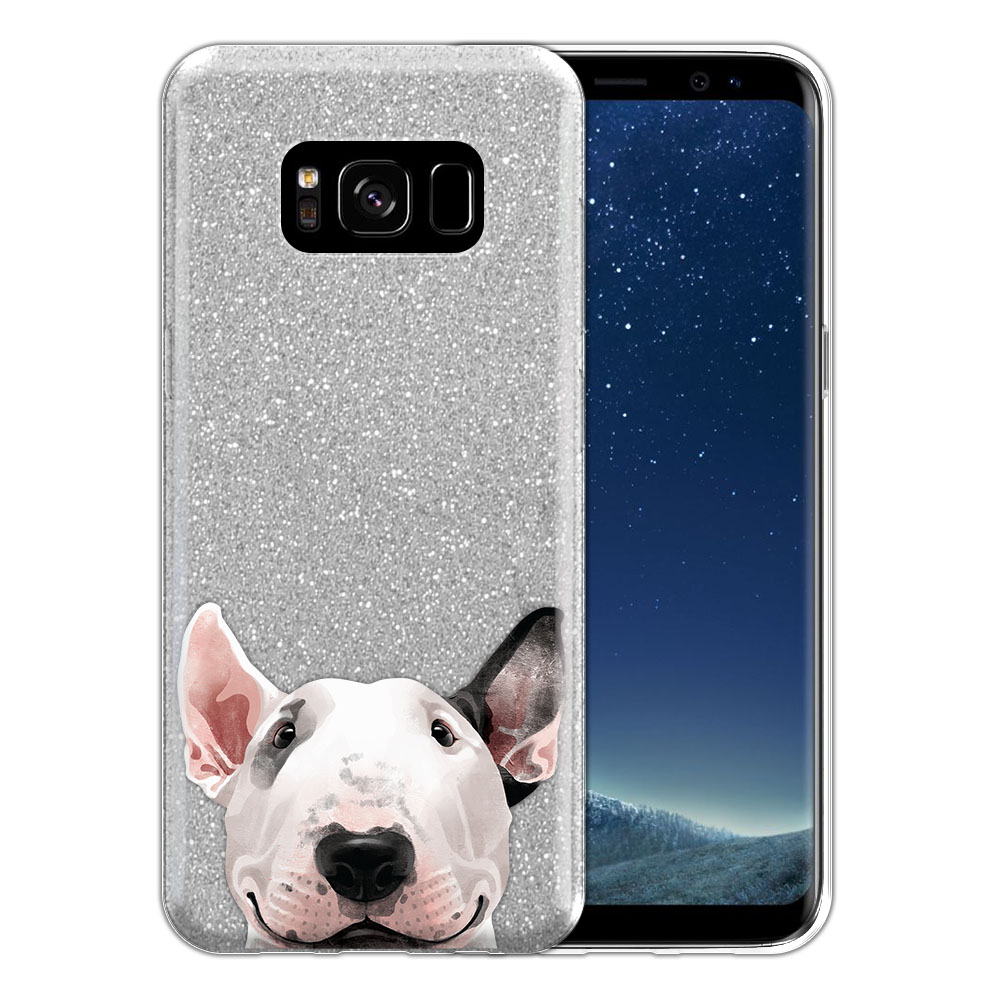 Hybrid Silver Glitter Clear Fusion Bull Terrier Protector Cover Case for Samsung Galaxy S8 G950