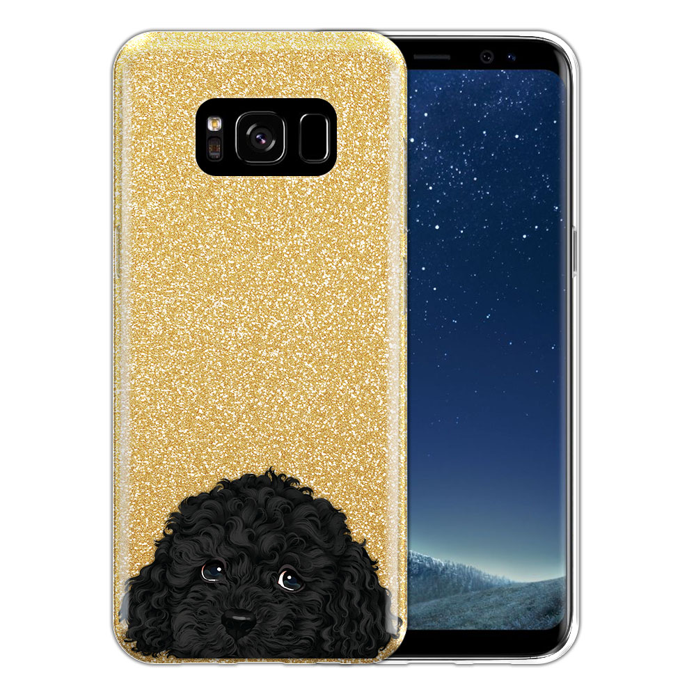 Hybrid Gold Glitter Clear Fusion Black Toy Poodle Protector Cover Case for Samsung Galaxy S8 G950