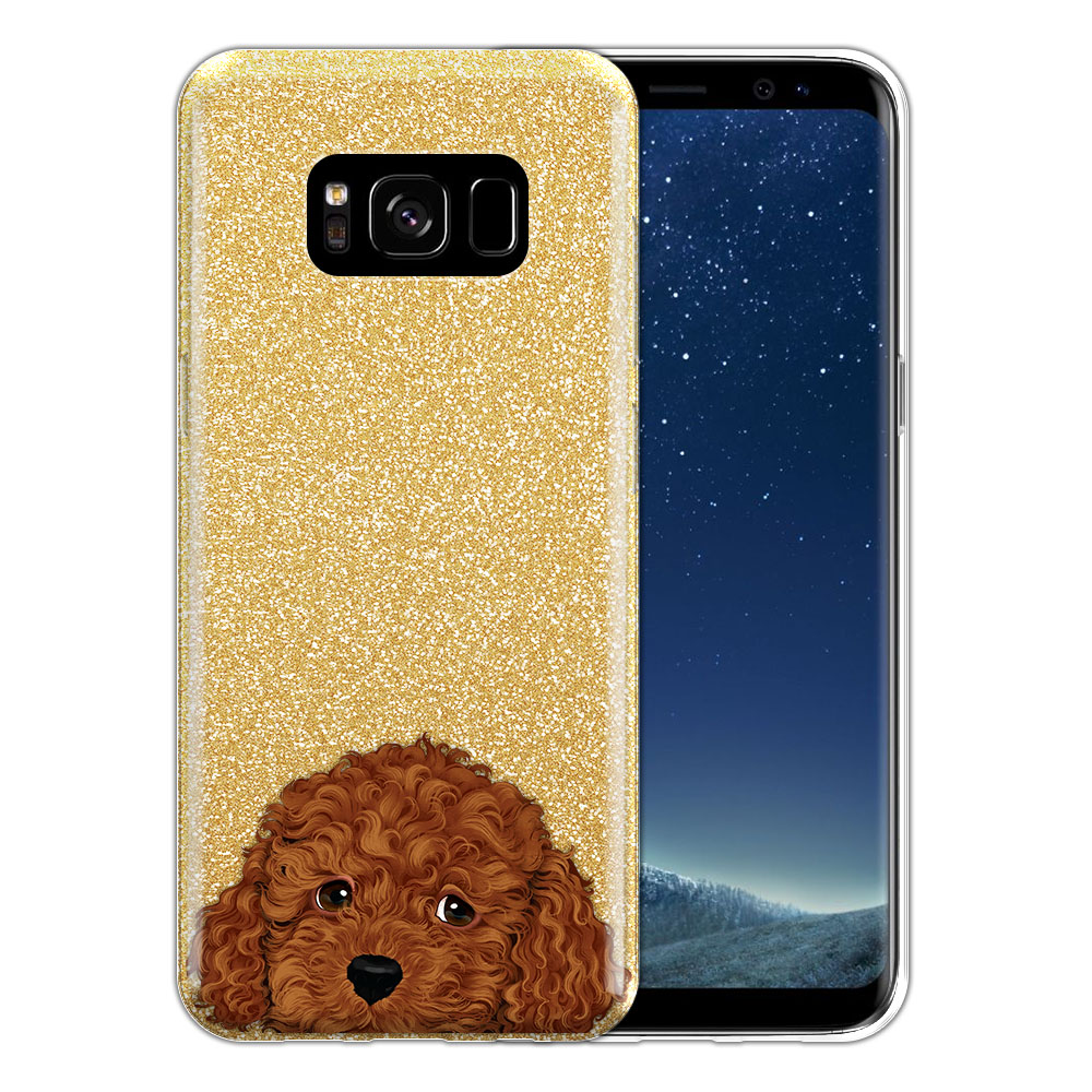 Hybrid Gold Glitter Clear Fusion Brown Toy Poodle Protector Cover Case for Samsung Galaxy S8 G950